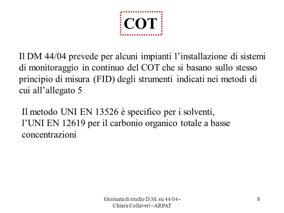 Giornata di studio D.M. su 44/04 - Chiara Collaveri - ARPAT 8 COT Il metodo UNI EN 13526 è specifico per i solventi, lUNI EN 12619 per il carbonio org
