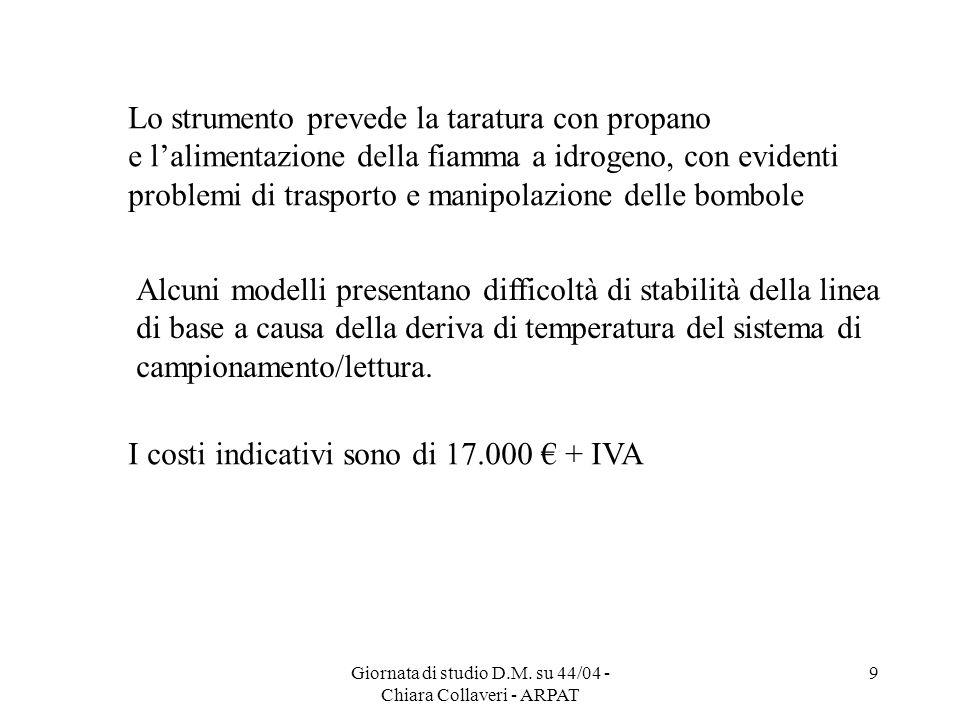 Giornata di studio D.M. su 44/04 - Chiara Collaveri - ARPAT 9 Lo strumento prevede la taratura con propano e lalimentazione della fiamma a idrogeno, c