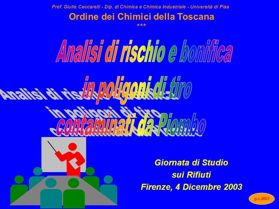 Giornata di Studio sui Rifiuti Firenze, 4 Dicembre 2003 Ordine dei Chimici della Toscana *** g.c.2003 Prof. Giulio Ceccarelli - Dip. di Chimica e Chim