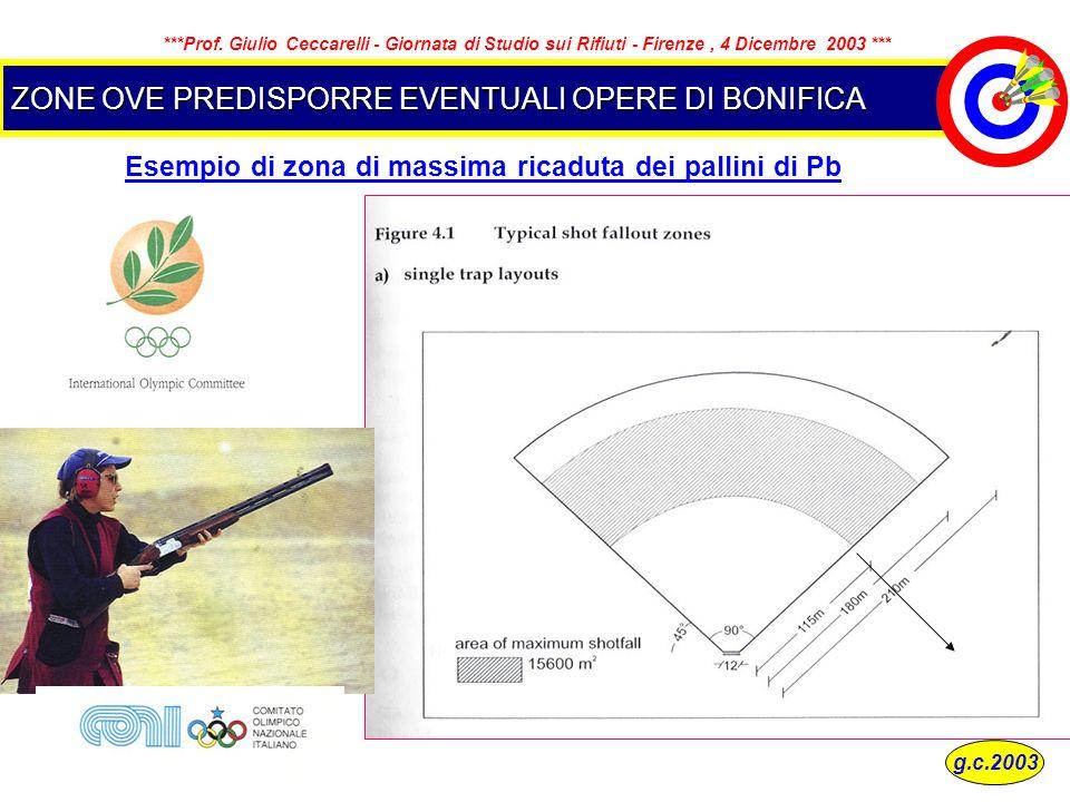 ZONE OVE PREDISPORRE EVENTUALI OPERE DI BONIFICA Esempio di zona di massima ricaduta dei pallini di Pb g.c.2003 ***Prof. Giulio Ceccarelli - Giornata
