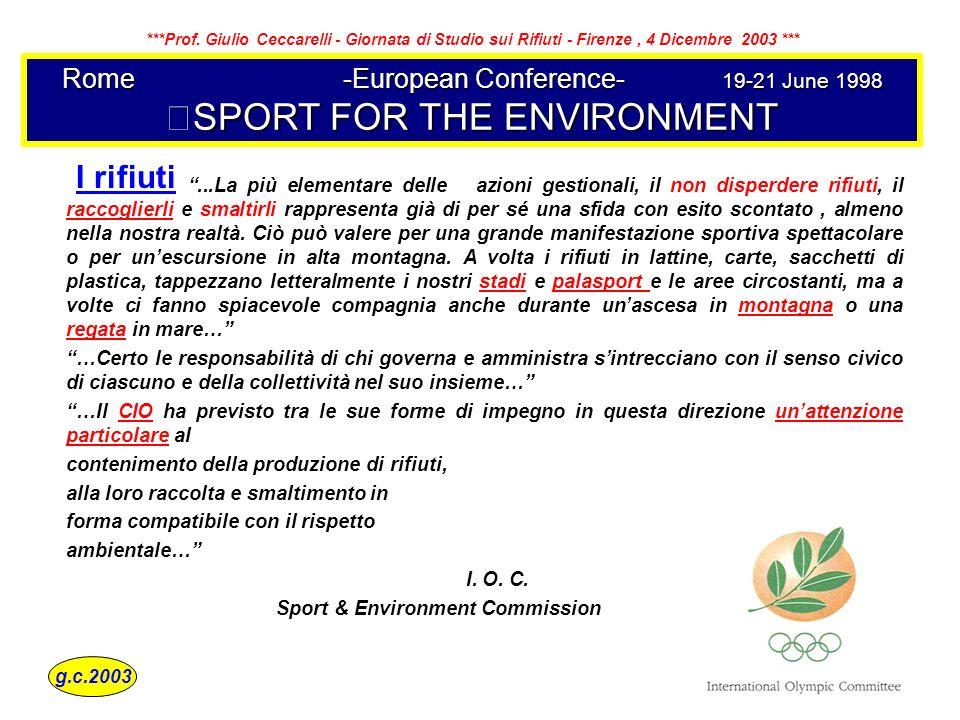 Rome-European Conference-19-21 June 1998 SPORT FOR THE ENVIRONMENT...La più elementare delle azioni gestionali, il non disperdere rifiuti, il raccogli