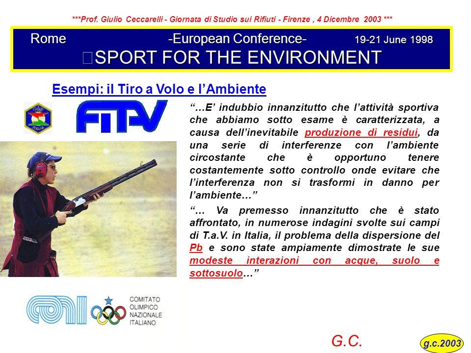 Rome-European Conference-19-21 June 1998 SPORT FOR THE ENVIRONMENT …E indubbio innanzitutto che lattività sportiva che abbiamo sotto esame è caratteri