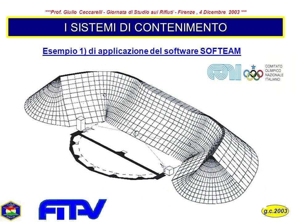 I SISTEMI DI CONTENIMENTO Esempio 1) di applicazione del software SOFTEAM g.c.2003 ***Prof. Giulio Ceccarelli - Giornata di Studio sui Rifiuti - Firen