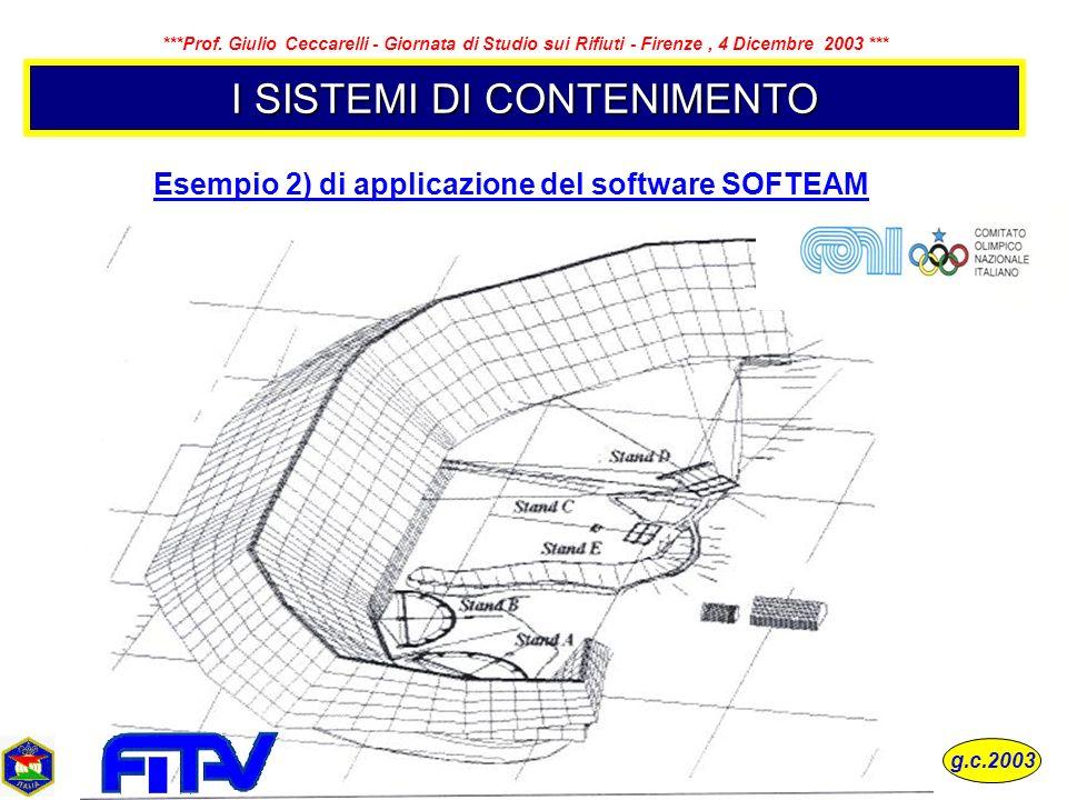 I SISTEMI DI CONTENIMENTO Esempio 2) di applicazione del software SOFTEAM g.c.2003 ***Prof. Giulio Ceccarelli - Giornata di Studio sui Rifiuti - Firen