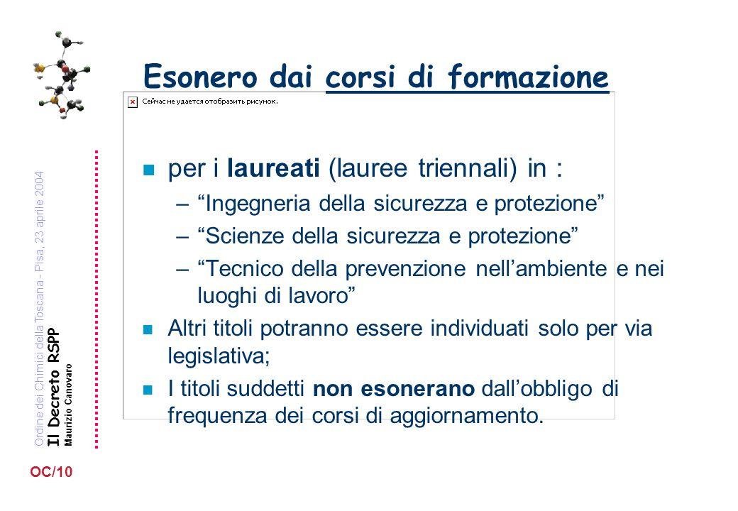 Ordine dei Chimici della Toscana - Pisa, 23 aprile 2004 Il Decreto RSPP Maurizio Canovaro OC/10 Esonero dai corsi di formazione n per i laureati (laur