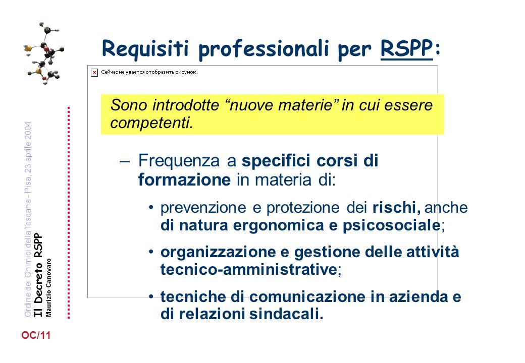 Ordine dei Chimici della Toscana - Pisa, 23 aprile 2004 Il Decreto RSPP Maurizio Canovaro OC/11 Requisiti professionali per RSPP: Sono introdotte nuove materie in cui essere competenti.