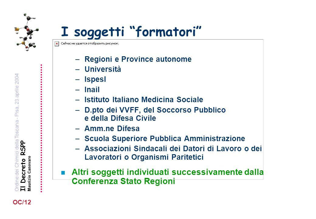 Ordine dei Chimici della Toscana - Pisa, 23 aprile 2004 Il Decreto RSPP Maurizio Canovaro OC/12 I soggetti formatori –Regioni e Province autonome –Uni