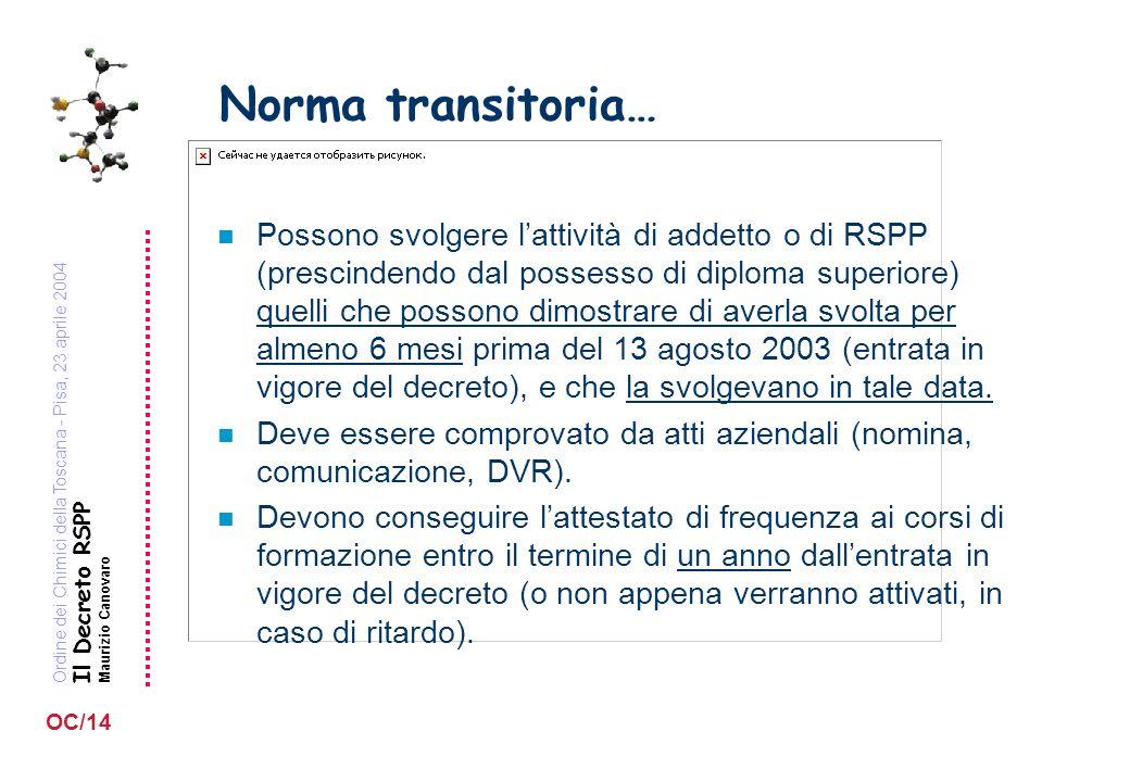 Ordine dei Chimici della Toscana - Pisa, 23 aprile 2004 Il Decreto RSPP Maurizio Canovaro OC/14 Norma transitoria… n Possono svolgere lattività di add