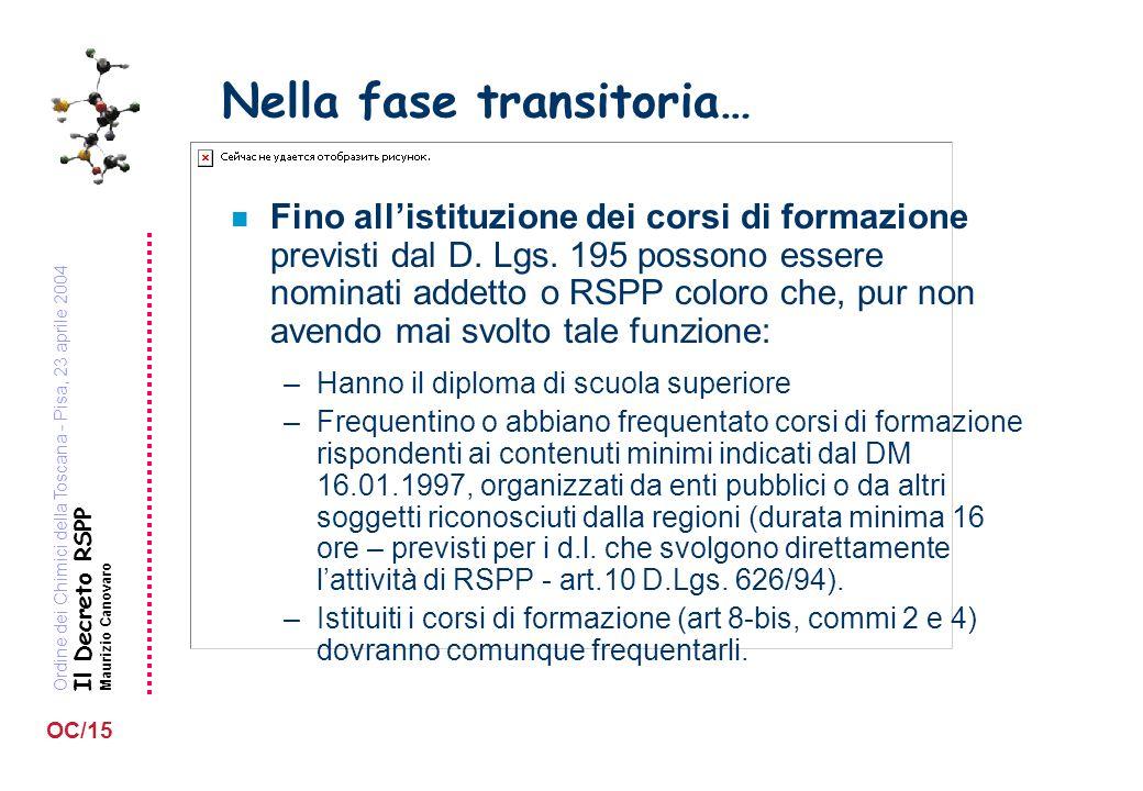 Ordine dei Chimici della Toscana - Pisa, 23 aprile 2004 Il Decreto RSPP Maurizio Canovaro OC/15 Nella fase transitoria… n Fino allistituzione dei corsi di formazione previsti dal D.