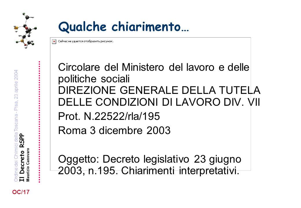 Ordine dei Chimici della Toscana - Pisa, 23 aprile 2004 Il Decreto RSPP Maurizio Canovaro OC/17 Qualche chiarimento… Circolare del Ministero del lavoro e delle politiche sociali DIREZIONE GENERALE DELLA TUTELA DELLE CONDIZIONI DI LAVORO DIV.