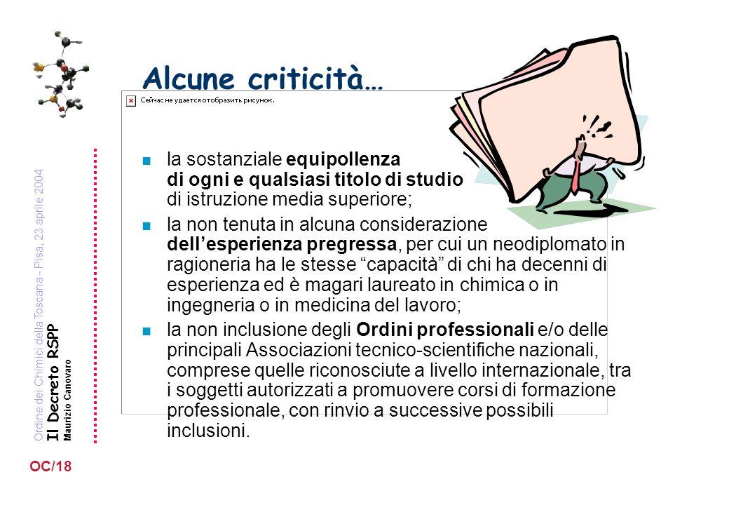 Ordine dei Chimici della Toscana - Pisa, 23 aprile 2004 Il Decreto RSPP Maurizio Canovaro OC/18 Alcune criticità… n la sostanziale equipollenza di ogn
