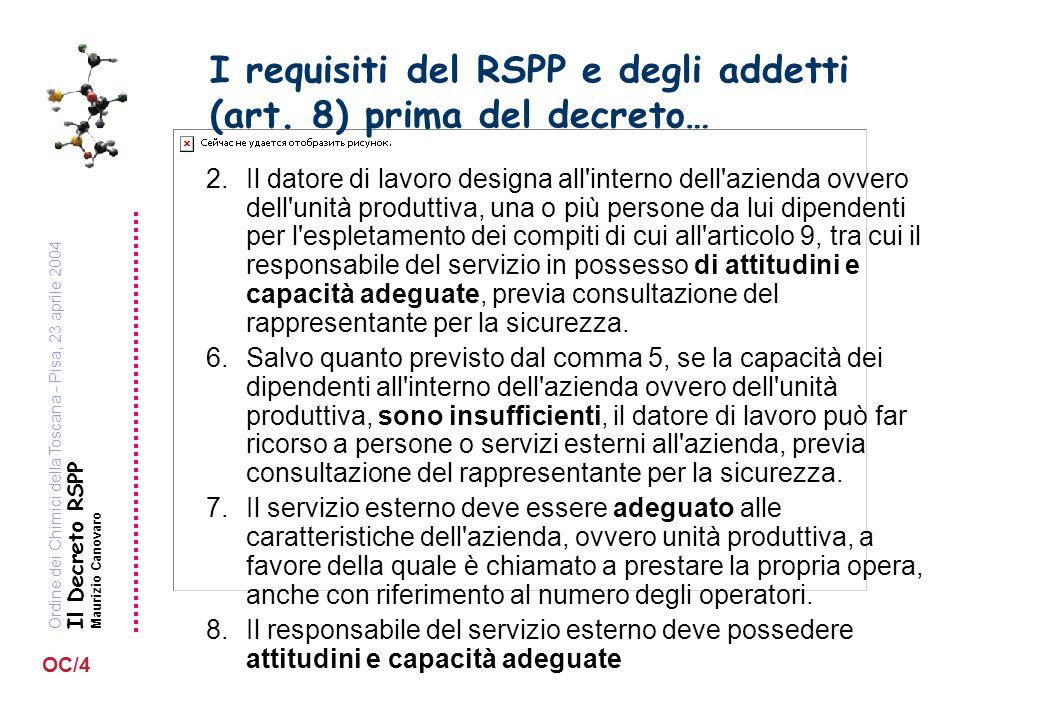 Ordine dei Chimici della Toscana - Pisa, 23 aprile 2004 Il Decreto RSPP Maurizio Canovaro OC/4 I requisiti del RSPP e degli addetti (art. 8) prima del