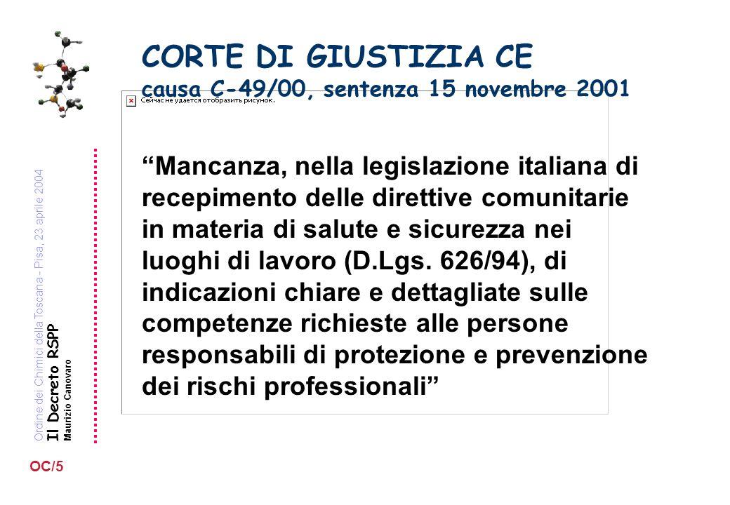 Ordine dei Chimici della Toscana - Pisa, 23 aprile 2004 Il Decreto RSPP Maurizio Canovaro OC/5 CORTE DI GIUSTIZIA CE causa C-49/00, sentenza 15 novembre 2001 Mancanza, nella legislazione italiana di recepimento delle direttive comunitarie in materia di salute e sicurezza nei luoghi di lavoro (D.Lgs.