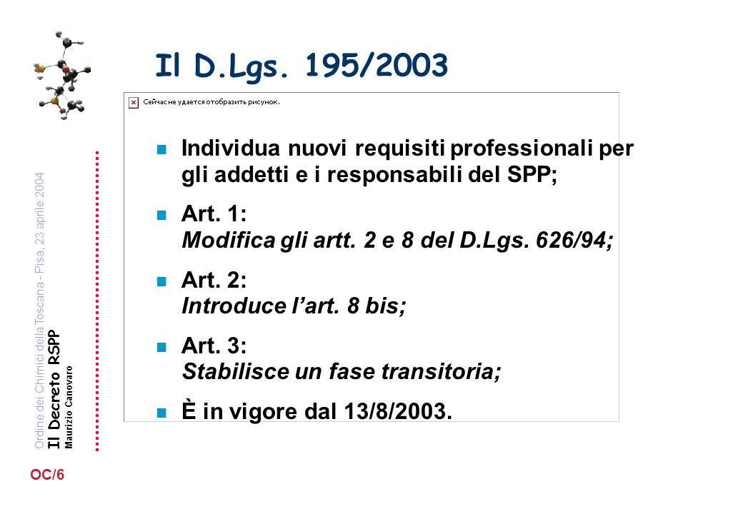 Ordine dei Chimici della Toscana - Pisa, 23 aprile 2004 Il Decreto RSPP Maurizio Canovaro OC/6 Il D.Lgs. 195/2003 n Individua nuovi requisiti professi