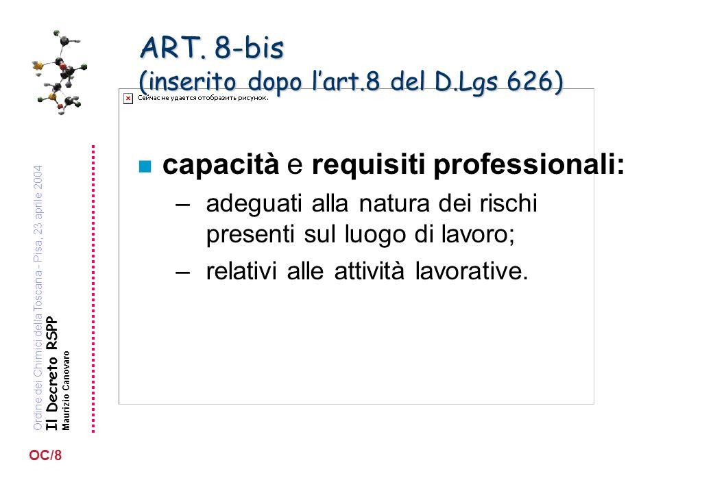 Ordine dei Chimici della Toscana - Pisa, 23 aprile 2004 Il Decreto RSPP Maurizio Canovaro OC/8 ART. 8-bis (inserito dopo lart.8 del D.Lgs 626) n capac