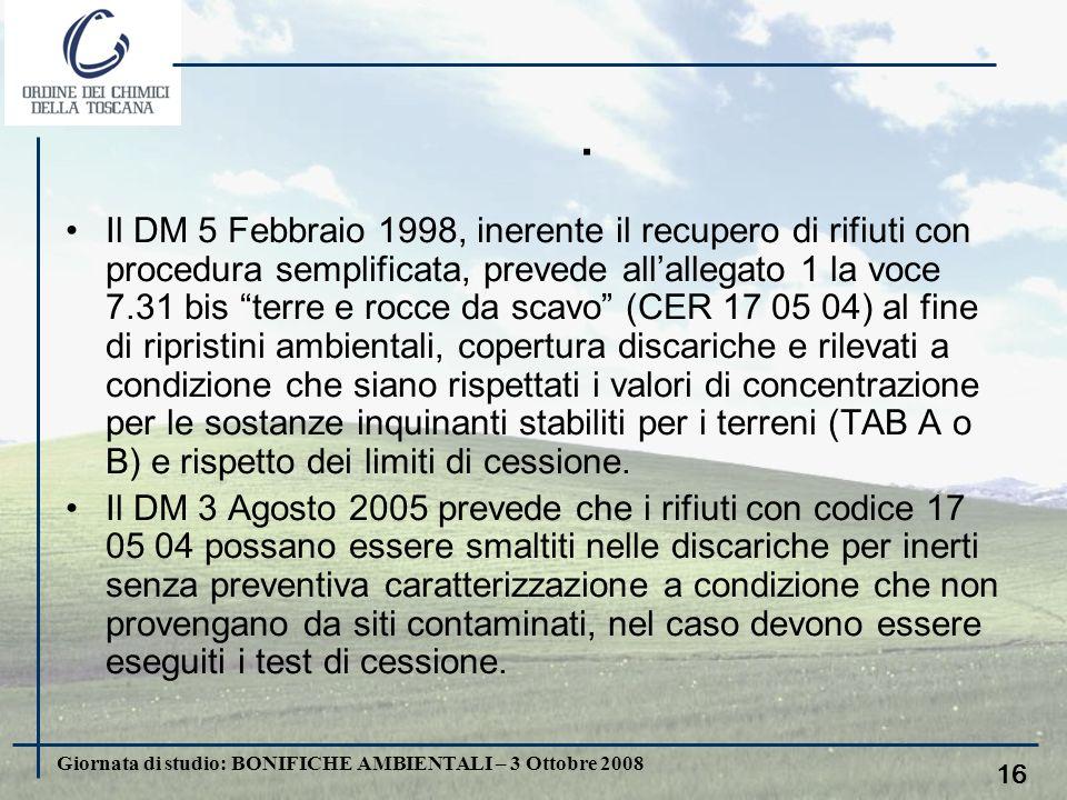 Giornata di studio: BONIFICHE AMBIENTALI – 3 Ottobre 2008 15. Lart. 186 del D.Lgs 152/06 fissa i criteri in base ai quali le terre e rocce da scavo po