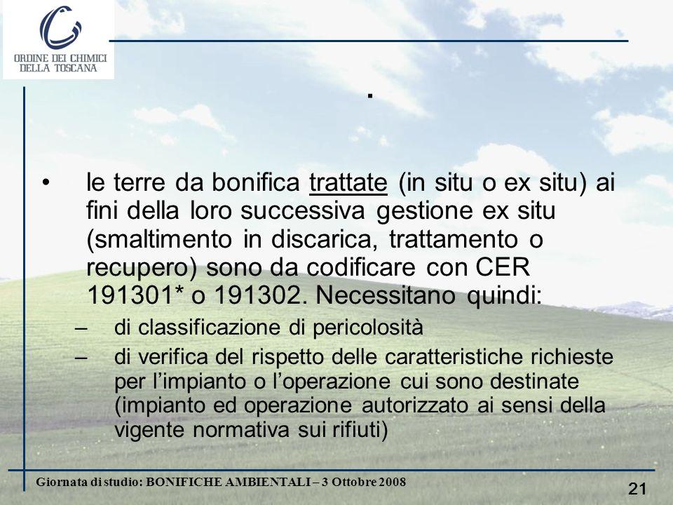 Giornata di studio: BONIFICHE AMBIENTALI – 3 Ottobre 2008 20. le terre da bonifica, non trattate (tal quali) e destinate ex situ ad impianti di smalti
