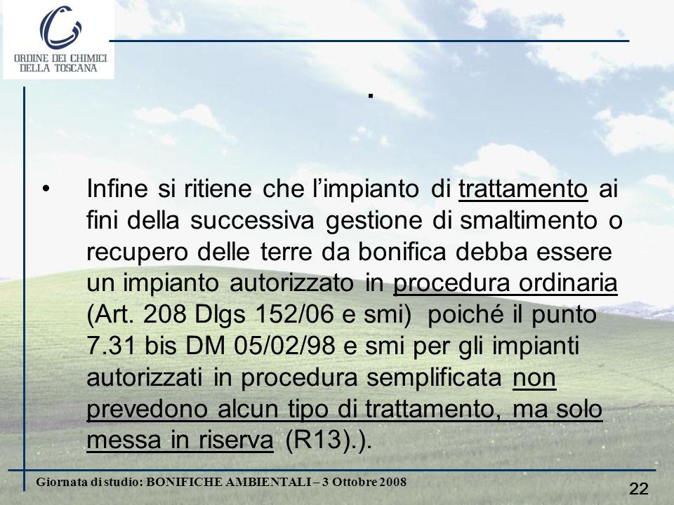 Giornata di studio: BONIFICHE AMBIENTALI – 3 Ottobre 2008 21. le terre da bonifica trattate (in situ o ex situ) ai fini della loro successiva gestione