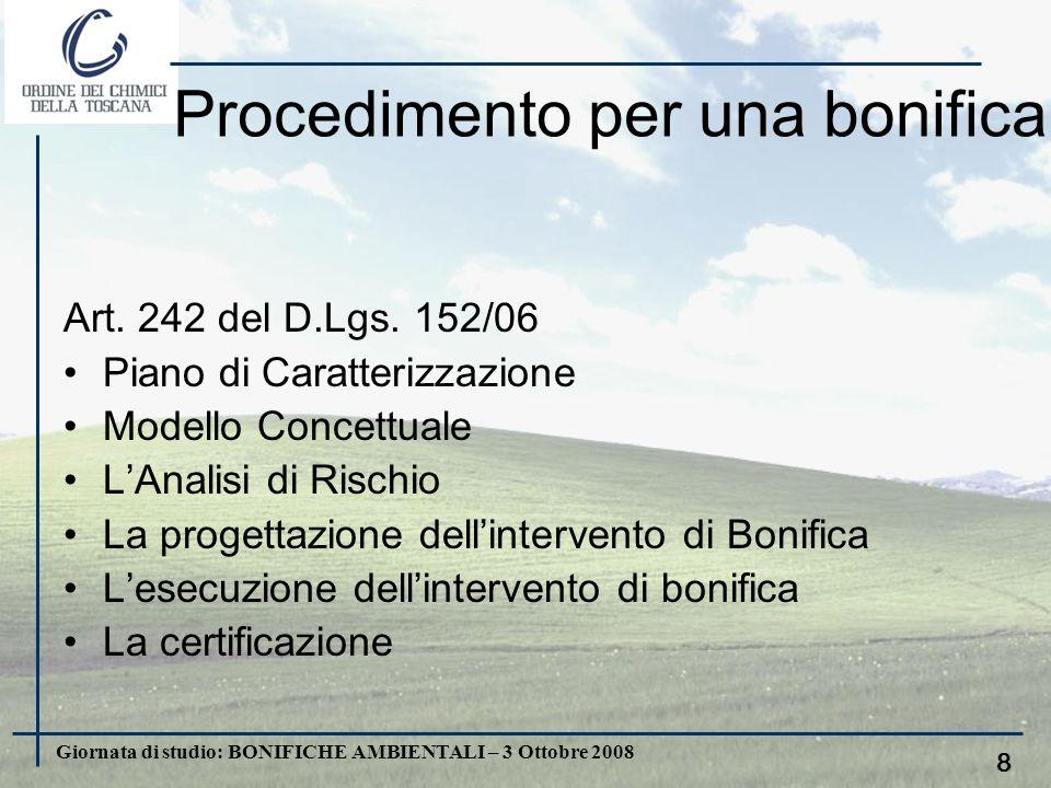 Giornata di studio: BONIFICHE AMBIENTALI – 3 Ottobre 2008 7. I Piani di bonifica delle aree inquinate La Regione Toscana ha realizzato il suo primo Pi
