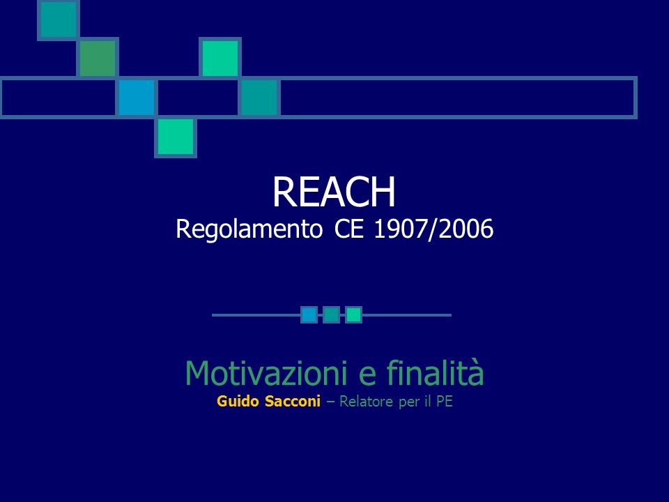 REACH Regolamento CE 1907/2006 Motivazioni e finalità Guido Sacconi – Relatore per il PE