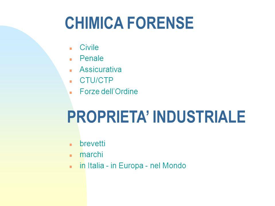 CHIMICA FORENSE n Civile n Penale n Assicurativa n CTU/CTP n Forze dellOrdine PROPRIETA INDUSTRIALE n brevetti n marchi n in Italia - in Europa - nel