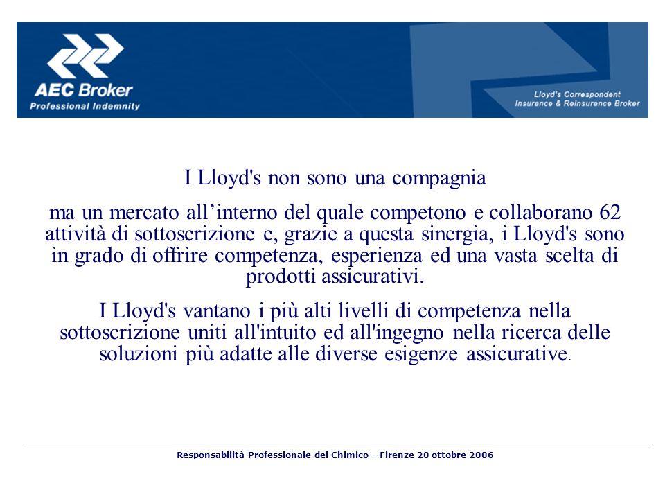 I Lloyd's non sono una compagnia ma un mercato allinterno del quale competono e collaborano 62 attività di sottoscrizione e, grazie a questa sinergia,