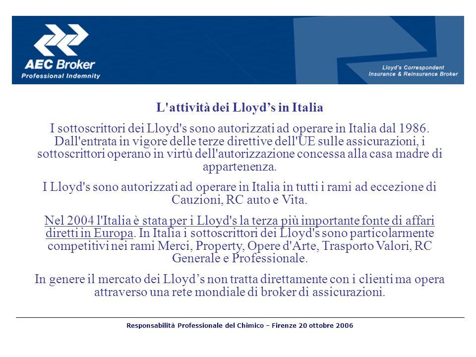 Responsabilità Professionale del Chimico – Firenze 20 ottobre 2006 L'attività dei Lloyds in Italia I sottoscrittori dei Lloyd's sono autorizzati ad op
