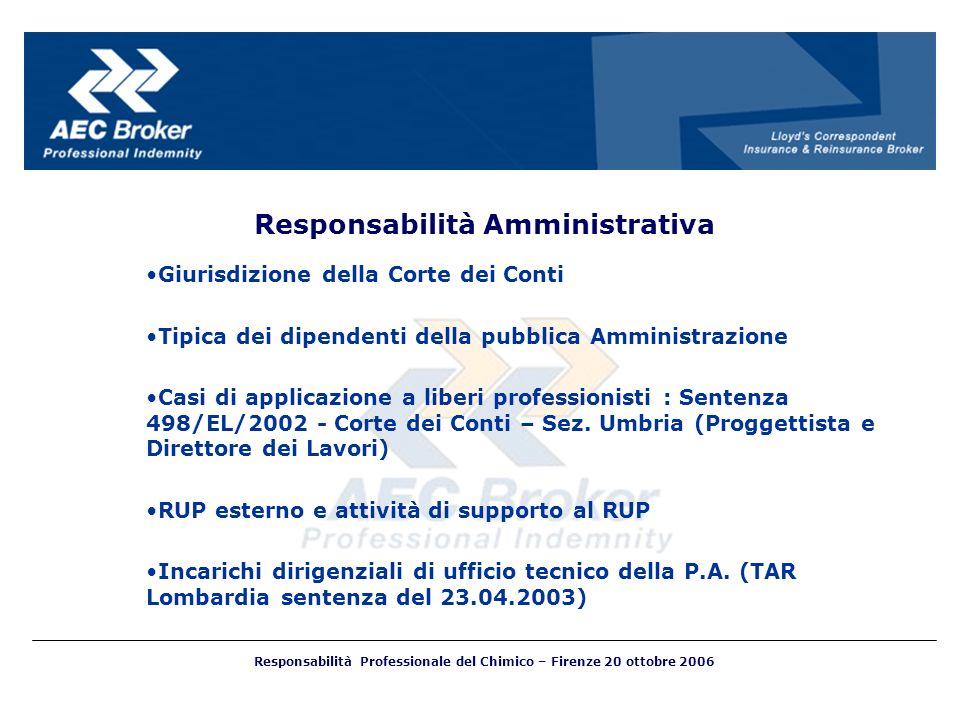 Responsabilità Amministrativa Giurisdizione della Corte dei Conti Tipica dei dipendenti della pubblica Amministrazione Casi di applicazione a liberi p