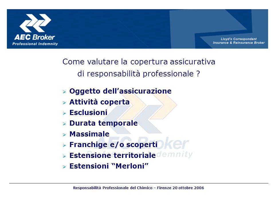 Come valutare la copertura assicurativa di responsabilità professionale ? Oggetto dellassicurazione Attività coperta Esclusioni Durata temporale Massi