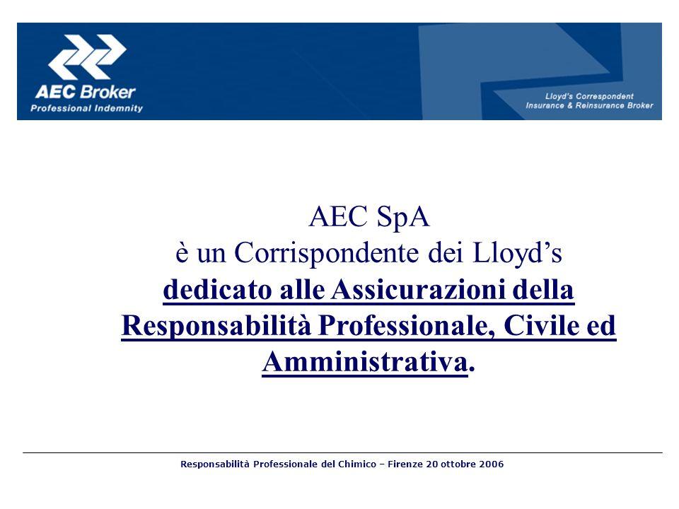 AEC SpA è un Corrispondente dei Lloyds dedicato alle Assicurazioni della Responsabilità Professionale, Civile ed Amministrativa.