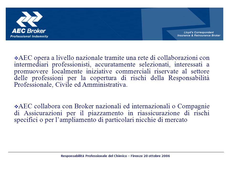 Responsabilità Professionale del Chimico – Firenze 20 ottobre 2006 AEC opera a livello nazionale tramite una rete di collaborazioni con intermediari p