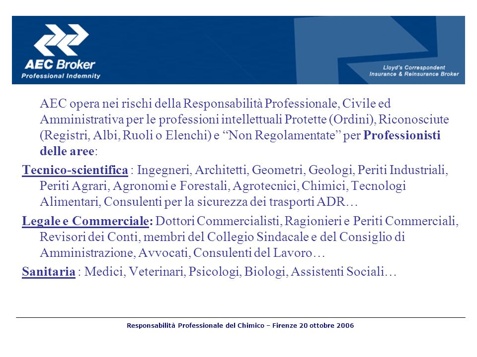 AEC opera nei rischi della Responsabilità Professionale, Civile ed Amministrativa per le professioni intellettuali Protette (Ordini), Riconosciute (Re