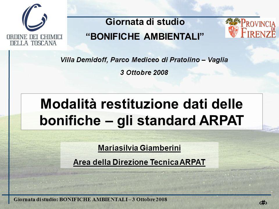Giornata di studio: BONIFICHE AMBIENTALI – 3 Ottobre 2008 12 www.arpat.toscana.it/bonifiche inserire schermata della pagina web