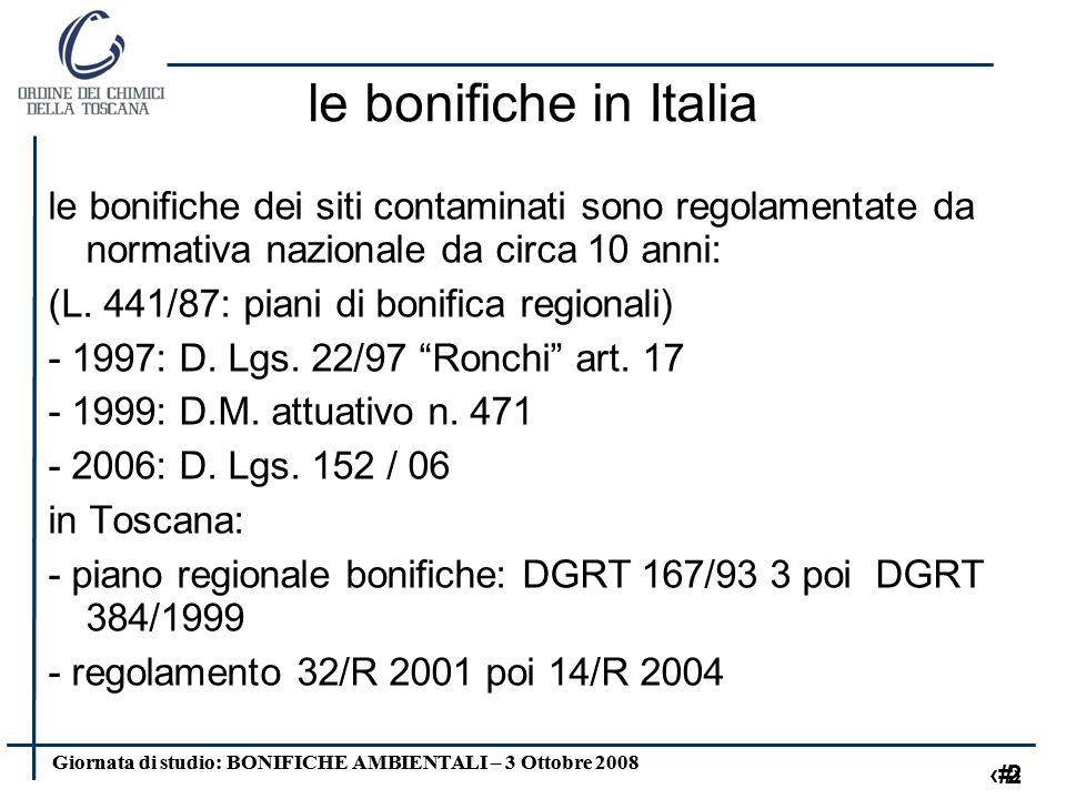 Giornata di studio: BONIFICHE AMBIENTALI – 3 Ottobre 2008 2 2 le bonifiche in Italia le bonifiche dei siti contaminati sono regolamentate da normativa nazionale da circa 10 anni: (L.