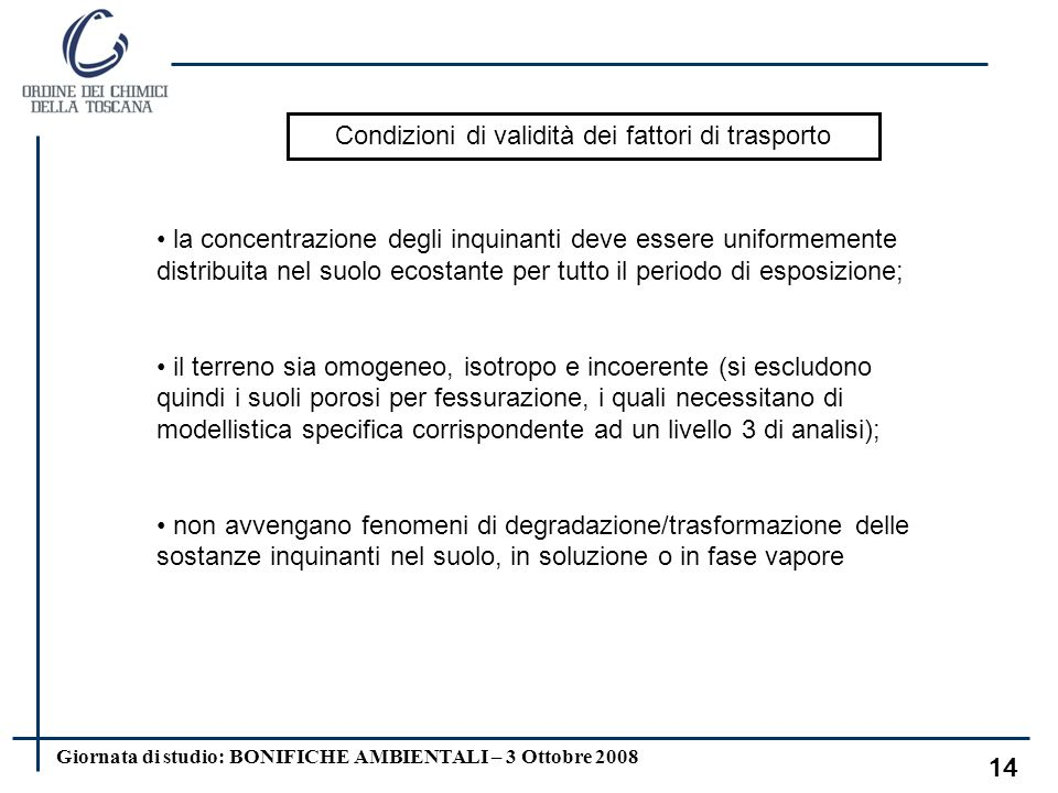 Giornata di studio: BONIFICHE AMBIENTALI – 3 Ottobre 2008 13 LF = fattore di lisciviazione in falda da suolo superficiale e/o profondo; DAF = fattore