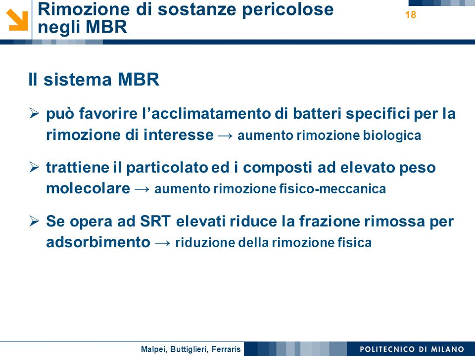 Nome relatore 18 Rimozione di sostanze pericolose negli MBR Il sistema MBR può favorire lacclimatamento di batteri specifici per la rimozione di inter