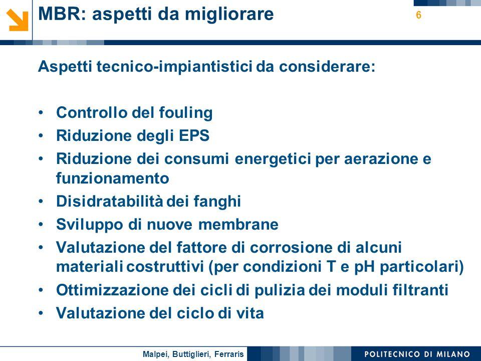 Nome relatore 6 MBR: aspetti da migliorare Aspetti tecnico-impiantistici da considerare: Controllo del fouling Riduzione degli EPS Riduzione dei consu