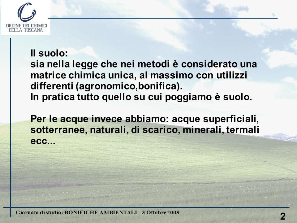 Giornata di studio: BONIFICHE AMBIENTALI – 3 Ottobre 2008 3 Lo scopo principale del campionamento e dell analisi è quello di rappresentare, con il minor dispendio, il reale stato di cantaminazione di un area in tutte le matrici e in tutte le dimensioni Quindi la chiave è nella ricerca della rappresentatività