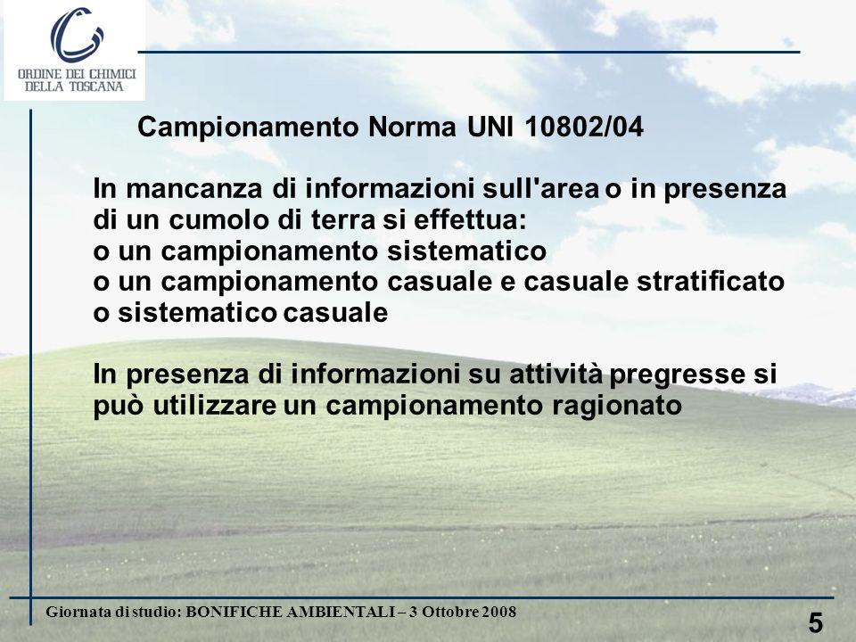 5 Campionamento Norma UNI 10802/04 In mancanza di informazioni sull area o in presenza di un cumolo di terra si effettua: o un campionamento sistematico o un campionamento casuale e casuale stratificato o sistematico casuale In presenza di informazioni su attività pregresse si può utilizzare un campionamento ragionato