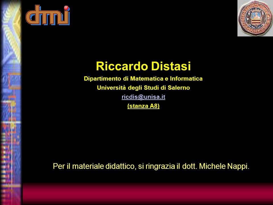 Per il materiale didattico, si ringrazia il dott.Michele Nappi.