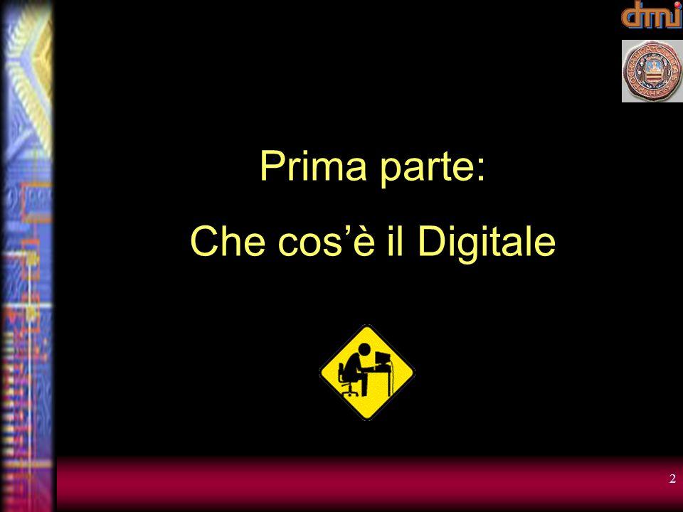 12 Che cosè il Digitale 1 bit rappresenta lo stato dellinterruttore Interruttore acceso: 1 Interruttore spento: 0