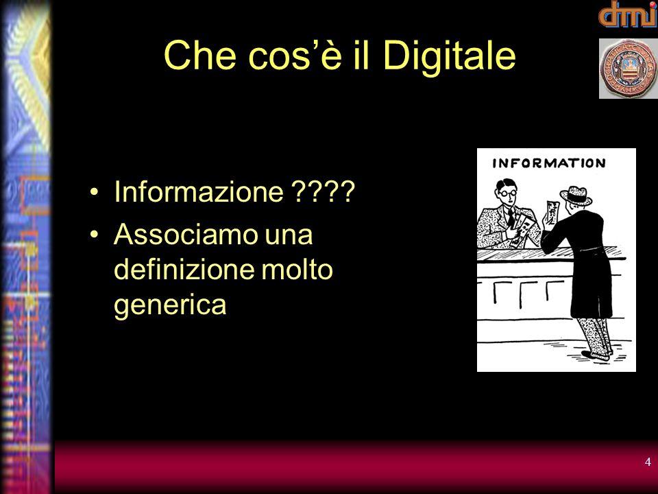 4 Che cosè il Digitale Informazione ???? Associamo una definizione molto generica