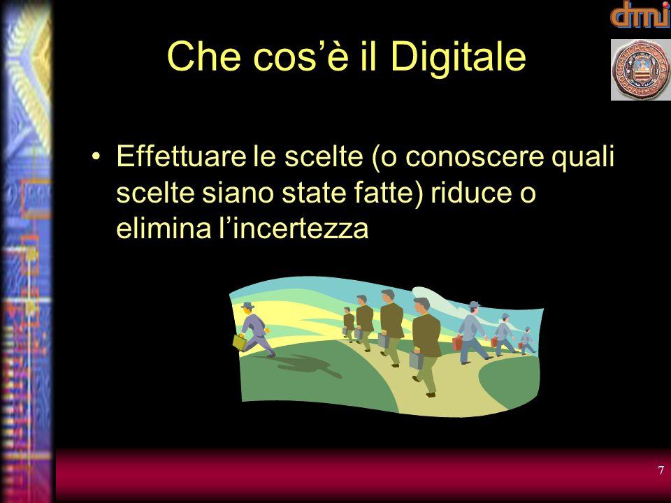 7 Che cosè il Digitale Effettuare le scelte (o conoscere quali scelte siano state fatte) riduce o elimina lincertezza