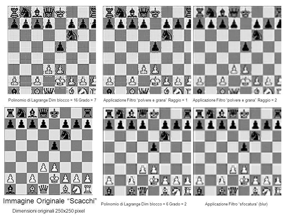 Immagine Originale Scacchi Polinomio di Lagrange Dim blocco = 16 Grado = 7Applicazione Filtro polvere e grana Raggio = 2 Polinomio di Lagrange Dim blocco = 6 Grado = 2Applicazione Filtro sfocatura (blur) Dimensioni originali 250x250 pixel Applicazione Filtro polvere e grana Raggio = 1