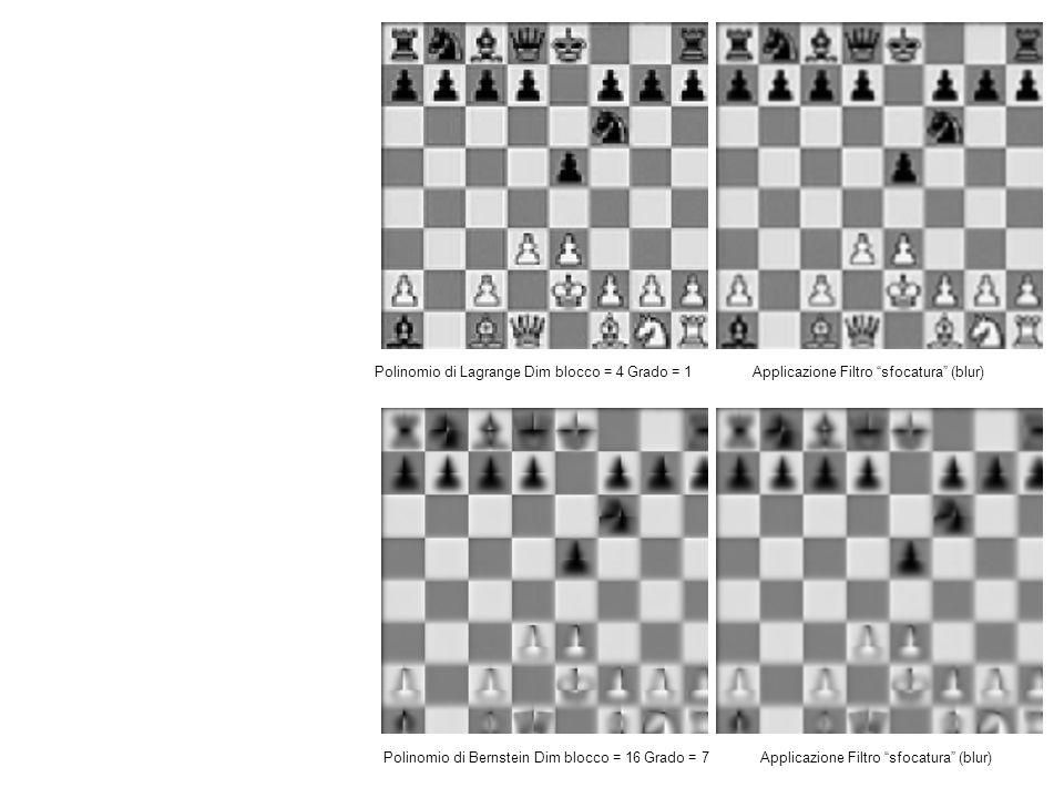 Polinomio di Lagrange Dim blocco = 4 Grado = 1 Applicazione Filtro sfocatura (blur) Polinomio di Bernstein Dim blocco = 16 Grado = 7