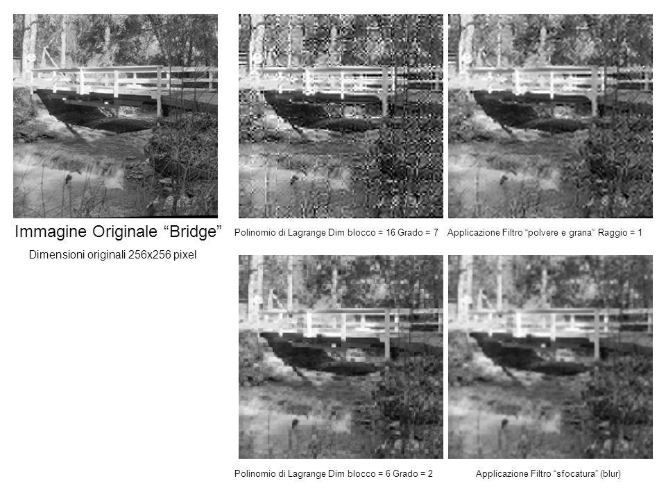Immagine Originale Bridge Polinomio di Lagrange Dim blocco = 16 Grado = 7Applicazione Filtro polvere e grana Raggio = 1 Polinomio di Lagrange Dim blocco = 6 Grado = 2Applicazione Filtro sfocatura (blur) Dimensioni originali 256x256 pixel