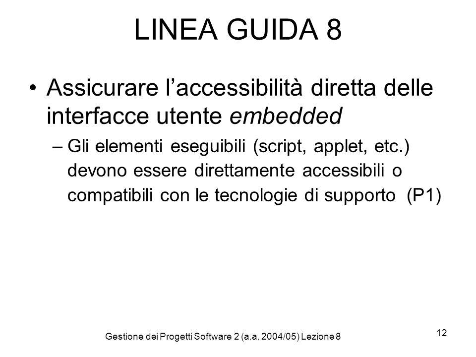 Gestione dei Progetti Software 2 (a.a. 2004/05) Lezione 8 12 LINEA GUIDA 8 Assicurare laccessibilità diretta delle interfacce utente embedded –Gli ele
