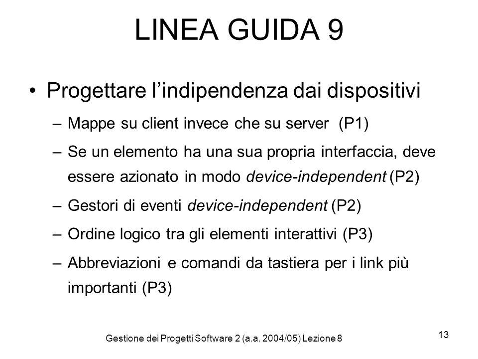 Gestione dei Progetti Software 2 (a.a. 2004/05) Lezione 8 13 LINEA GUIDA 9 Progettare lindipendenza dai dispositivi –Mappe su client invece che su ser