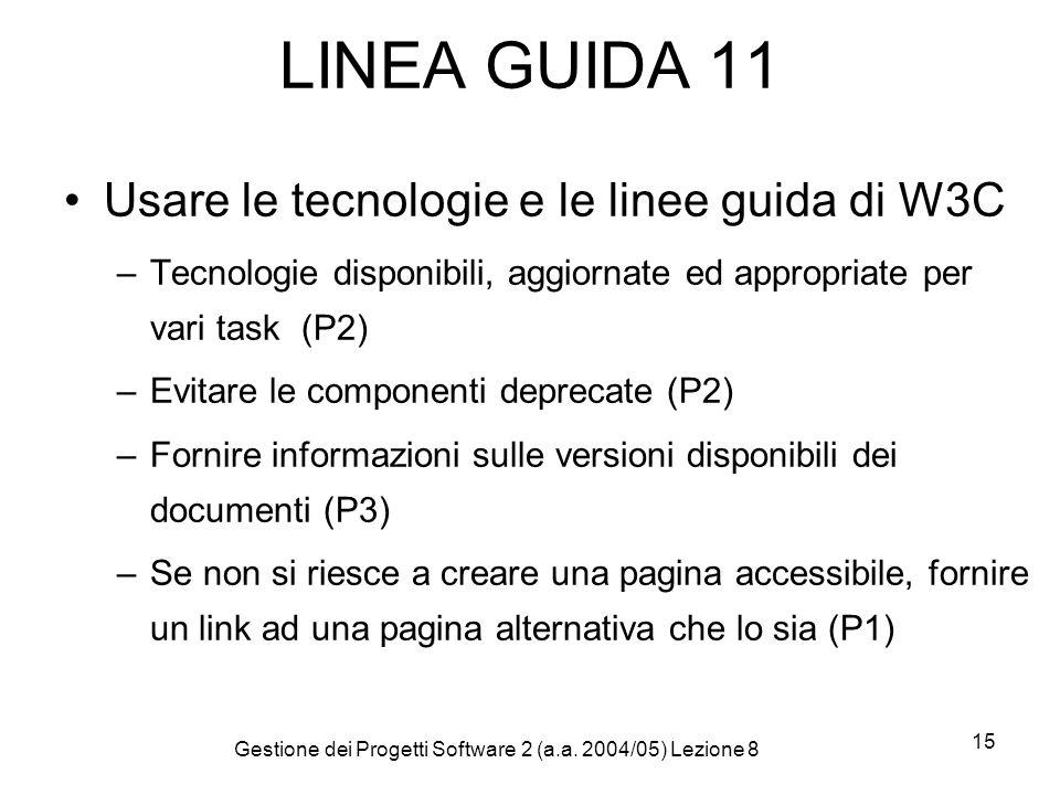 Gestione dei Progetti Software 2 (a.a. 2004/05) Lezione 8 15 LINEA GUIDA 11 Usare le tecnologie e le linee guida di W3C –Tecnologie disponibili, aggio