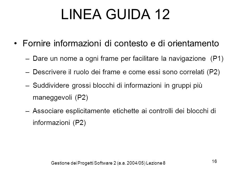 Gestione dei Progetti Software 2 (a.a. 2004/05) Lezione 8 16 LINEA GUIDA 12 Fornire informazioni di contesto e di orientamento –Dare un nome a ogni fr